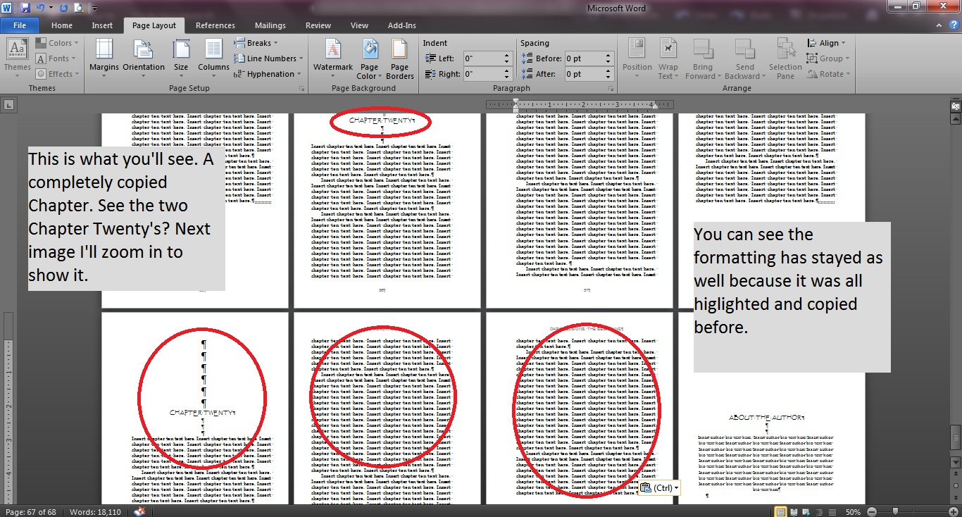 how to create chapters in word
