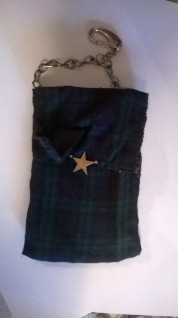 Colors: Green plaid, gold star, silver chain, suede material interior. Small change purse, or phone holder
